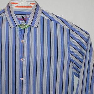 Robert Graham Shirt, Large, Blues, Striped, Cuffs
